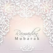 Beautiful floral design decorated background with stylish text Ramadan Mubarak on shiny grey background.