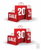 Shopping bag printed with a twenty and thirty discount. Vector.