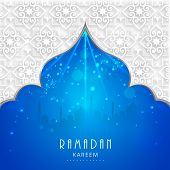 picture of muslim  - View of mosque in shiny blue night background for holy month of muslim community Ramadan Kareem - JPG