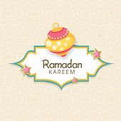 Beautiful greeting card design for holy month of Muslim community Ramadan Kareem.