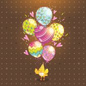 Happy Birthday background with bird and balloon