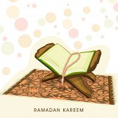 Open religious book Quran Shareef with praying mantis on wooden stand on colorful abstract backgroun