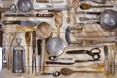 stock photo of food preparation tools equipment  - Old and various accessories for the preparation of food - JPG