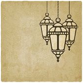 picture of ramadan mubarak card  - Ramadan lantern old background  - JPG