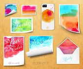 Vector sheets of paper wrapped template design watercolor kraft