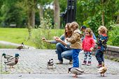 image of child feeding  - Mother and her children feeding ducks at summer two little boys and adorable girl - JPG