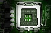 picture of processor socket  - Closeup cpu socket on computer mother board - JPG