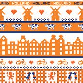 Seamless retro pixel Holland orange pattern