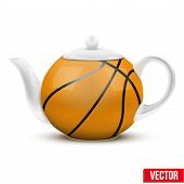 Ceramic Teapot In Basketball Ball Style. Football Vector Illustration.