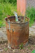 Outdoor Incinerator Full Of Garden Rubbish