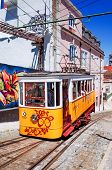 Lisbon, Portugal - May 11: Typical,Tramway on May 11, 2014.