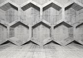 Abstract Concrete Interior With Honeycomb Structure On The Wall