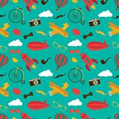 Vintage Air Vehicles Seamless Pattern