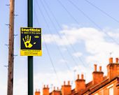 SMARTWATER Burglar deterrent signage in Sneinton Nottingham England