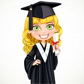 Cute girl in cap holding a scroll diploma