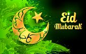illustration of Eid Mubarak (Happy Eid) background with moon