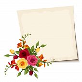 Vector card with red and yellow roses.