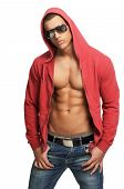 Handsome Young Man Posing In Hooded Sweat