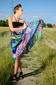 Female Model With Colorful Dress