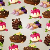 stock photo of crepes  - Decorative sweets dessert seamless pattern with layered cake crepes cream vector illustration - JPG