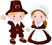 Thanksgiving Day children Pilgrim Couple. Raster version.