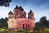 stock photo of radha  - Shyamroy Temple Bishnupur India - made of terracotta (baked clay) - world famous tourist spot.