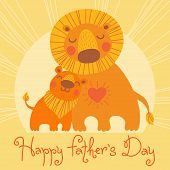 Happy Father's Day card. Cute lion and cub.