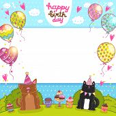 stock photo of dog birthday  - Happy Birthday card background with a cat - JPG