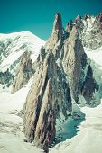 Massif De Mont Blanc On The Border Of France And Italy. In The Foreground The Ice Field And Crevasse