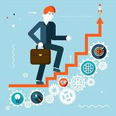 Businessman Goes Success Infographic Stairs Symbol Gears icons on Stylish Background Modern Flat Des
