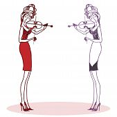 Two Violinists.