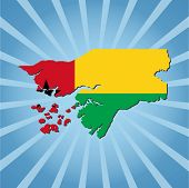 Guinea Bissau map flag on blue sunburst illustration