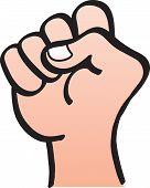Rising fist hand salute