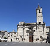 Ascoli Piceno, Italy - June 02, 2014: The Cathedral Of St. Emidio In Arringo Square Is The Oldest Mo