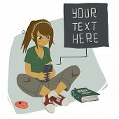 Girl Writing Text Message on Her Mobile Phone.