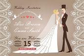 Retro Wedding Invitation With Paisley Border Lace,groom, Bride
