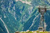 Cable Car Pylon On The Chamonix Mont Blanc
