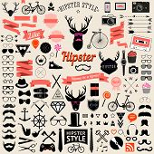 Set of vintage styled design hipster icons.Vector signs and symbols templates