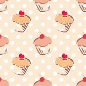 Tile vector pattern with cupcake and polka dots