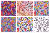 Vector set of seamless triangles patterns