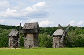 Three Traditional Old Ukrainian Rural Wind Turbines ,pirogovo,europe