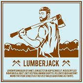 pic of man chainsaw  - Lumberjack woodcutter logging industry man with axe retro poster vector illustration - JPG