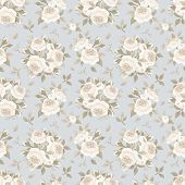 pic of english rose  - Vector vintage seamless pattern with beige English roses on a blue background - JPG
