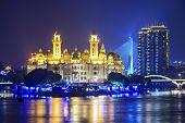 Fuzhou, Fujian, China cityscape on the Ming River.