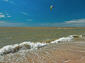 Windsurfing And Kitesurfing On The Dolzhanka, Krasnodar Region, Russia.
