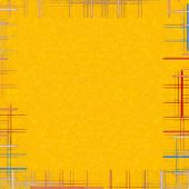 Yellow Abstract Background With Checkered Frame.