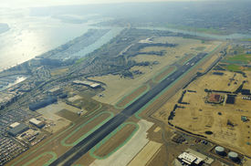 stock photo of united states marine corps  - Aerial view of the San Diego International Airport river and pacific ocean in Southern California - JPG