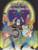 picture of jive  - A rock band poster of five men jamming with guitars and drums on stage - JPG