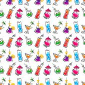 Decorative cocktail bar seamless pattern. Vector illustration.
