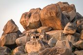 picture of karnataka  - Old temple between stones in Hampi - JPG